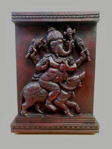 Ganesh Wooden Wall Panel Hindu Temple Vintage Ganesha Sculpture Figurine Murti