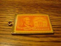 Vintage Solid Brass .3 CENT Encased U.S. Postage Stamp Alexander Hamilton