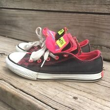 Converse All Stars Shoes sz 1 Junior Youth Black Pink Multi Color Tongue Sneaker