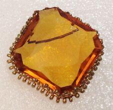 broche año 1960 cabujón de cristal tallado citrino marco de color oro 4284