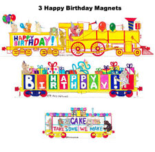 Happy Birthday Locomotive, Gondola & Caboose set of 3 magnets Andy Fletcher