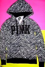 Victorias Secret Pink Hoodie Zip Up RARE XS Zebra Animal Leopard Black White