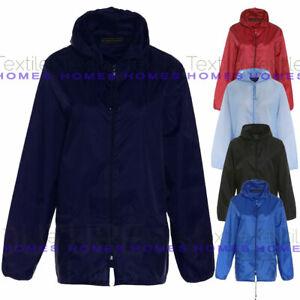 Unisex Kids Boy Girls Waterproof Plain Rain Coat Mac Kagoul Jacket Hooded Cagoul