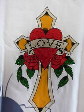 Ed Hardy T-Shirt kurzarm mit Strass in Gr. L, Viskose, neu