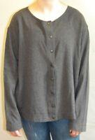 Eileen Fisher Charcoal Gray Long Sleeve Snap Button Shirt Women's Size Medium E