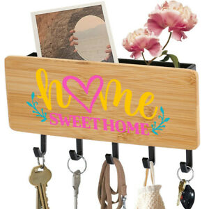5 Hooks Wooden Key Holder Mail Rack Wall Mounted Organizer Home Sweet Home Deco