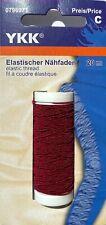 YKK Gummiband, Elastischer Nähfaden, Rundgummi 20m, Durchmesser 0,7mm, rot