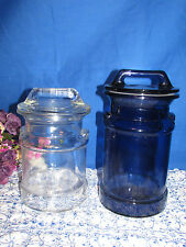 PAIR OF GLASS MILK CAN STYLE CANISTER STORAGE JARS COBALT BLUE AND CLEAR GLASS