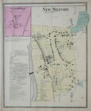 Original 1867 Antique Map NEW MILFORD Lanesville Litchfield County Connecticut