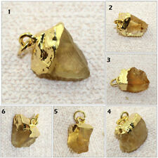 Natural Raw Citrine 24k Gold Electroplated Charm Pendant Making Jewelry Supplies