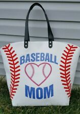 White Baseball Mom Bag - Extra Large Multi-purpose Bag Purse