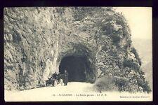 cpa Cachet SAINT CLAUDE sur BIENNE en 1911 (Jura) La ROCHE PERCÉE Automobile