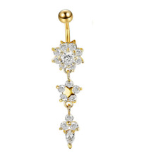 Gold Medical Steel Crystal Rhinestone Flower Navel Ring Percing Belly Jewelry