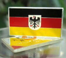 1 oz Germany German Deutschland Flag 100 Mills .999 Silver Plated Bar