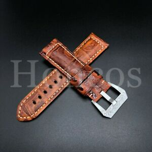 24MM Vintage Orange Leather Alligator Watch Strap For Panerai Engraved Custom US