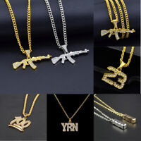 Mens Crystal Letter Number Pendant Chain Alloy Hip Hop Necklace Jewelry Choker