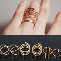 Fashion 6PCS Rings Urban Gold Stack Plain Above Knuckle Band Midi Ring Set