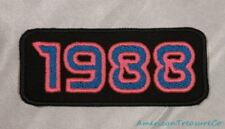 Embroidered Retro Vintage 80s Neon Hot Pink & Blue 1988 Year Patch Iron On USA