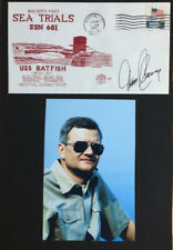 Tom Clancy Autograph On a Colorful Red Submarine Cover Mounted With Clancy's Pic