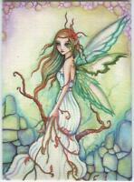ACEO S/N L/E FAIRY ELF DRUID AUTUMN GIRL BOTANICAL NATURE COBBLESTONE RARE PRINT