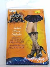 Black Women's Diamond Fishnet Knee Highs Witch Costumes Halloween Party Dance