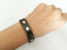 New Heavy black&silver Tungsten Carbide Men Bracelet Magnetic Energy Stone TS123