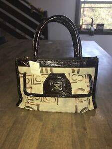 Liz Claiborne Brown  Beige Gold Jacquard Logo Evening Mini Tote Purse Handbag