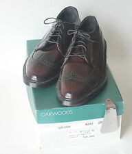 Vintage Deadstock OAKWOODS Longwing Brown Oxford Leather Shoes Made In USA