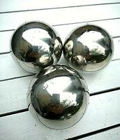 3  x  Edelstahl 6 cm Miniteich Dekokugel Glaskugel Kugeln Schwimmkugeln Silber