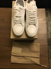 New Auth. Burberry Salmond Leather Men White Logo Sneakers Shoes 42 / 12 $590