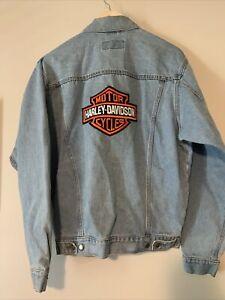 Vintage Harley Davidson Motorcycles Denim Jacket Wrangler Hero Mens Small