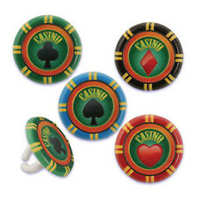 12 ct  CASINO Las Vegas POKER CHIPS Birthday Party Cupcake Picks Rings