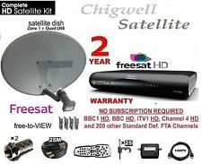 AMSTRAD DRX595 SATELLITE HD RECEIVER BOX  ZONE 1 SATELLITE DISH + LNB, 25M CABLE