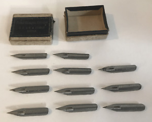 Antique Fisher Business Colleges Fountain Pen Nibs Box of 11 Boston