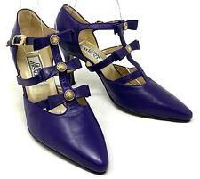 Authentic Gianni Versace Purple Leather Pumps Heels #36 Us6 Sun Motif Rank B