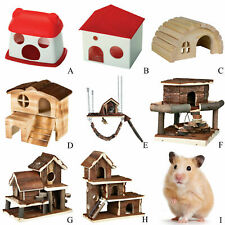 Hamster House Home Plastic Wooden Natural Mouse Gerbil Syrian Hamsters