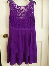 COAST ROYAL PURPLE SPECIAL OCCASION DRESS LACE TOP OVER BUSTIER SIZE 16