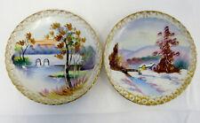 Vtg Asian Studio Hand Painted Plates Gallery Butterflies Bok Choi Gold Trim Art Decorative Arts