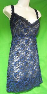 NEW HANKY PANKY 595304X CROSS-DYED MADE IN USA BKBL SIGNATURE LACE CHEMISE 3X
