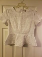 Gap Women's White Peplum Short Sleeve Top Size 6