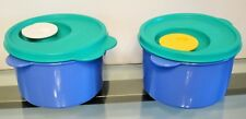 TWO Tupperware CrystalWave Microwave Soup Chili Mug with Vented Lid Blue EUC