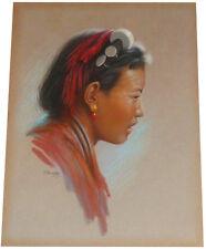 1955 Rare DOUGLAS GORAY - Tibetan Woman - ORIGINAL PASTEL PAINTING - Hill People