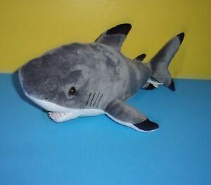 "16"" Destination Nation Gray Black Tipped Shark Plush Soft Toy Stuffed Animal"