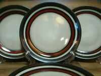 "SET OF 4 - GIBSON LEGACY - 8 1/2"" LUNCHEON PLATES - TAN & BROWN BANDS"