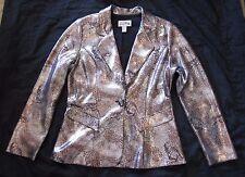 Joseph Ribkoff Snake Animal Reptile Jacket Shimmer Silver Blazer Snakeskin SZ 12