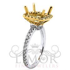 1CT Vintage Radiant Cushion Diamond Halo Engagement Ring 18K White&Yellow Gold