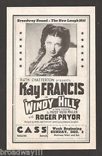 "Kay Francis ""WINDY HILL"" Ruth Chatterton '45 FLOP Detroit, Michigan Tryout Flyer"