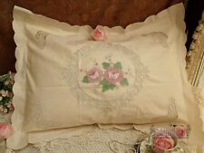 """One Vtg Elegant HAND Tape lace Embroidered ROSES Pillowcase Ecru Pretty 21x27"""""""