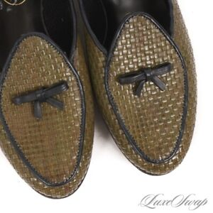 NWOB Belgian Shoes Made Belgium 5122 Olive Green Basketweave Print Loafers 6.5