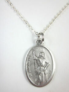 """Ladies St Joan of Arc Medal Pendant Necklace 20"""" Chain Gift Box & Prayer Card"""